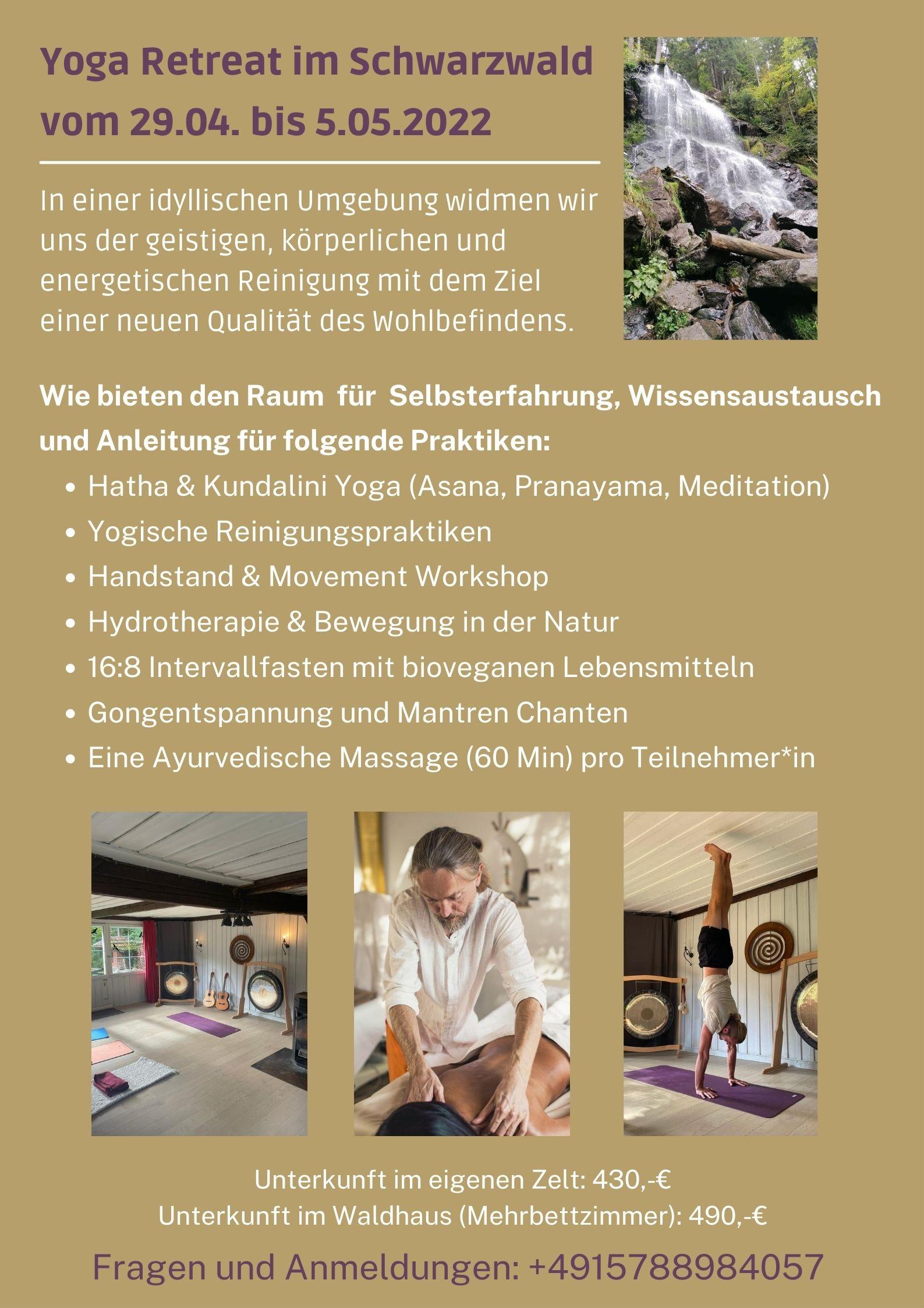 Yoga Retreat im Schwarzwald 29.04. bis 5.05.2022